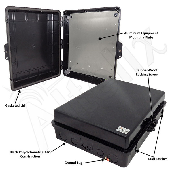 Altelix 17x14x6 Inch Black Polycarbonate + ABS Weatherproof NEMA Enclosure with Aluminum Mounting Plate
