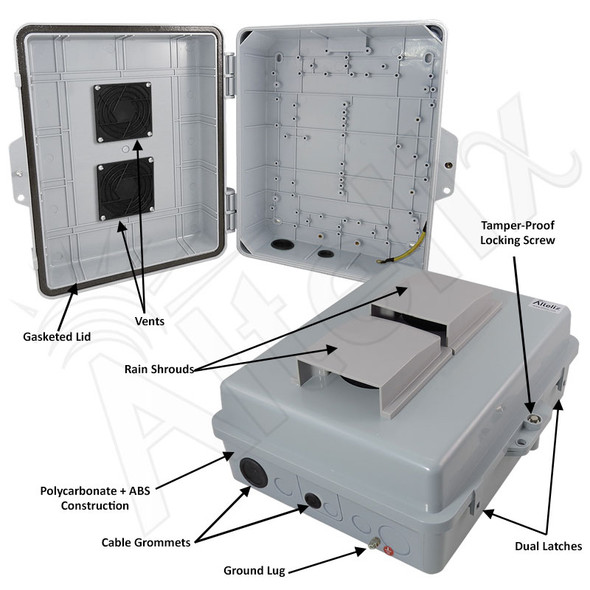 Altelix 14x11x5 Polycarbonate + ABS Vented Weatherproof NEMA Enclosure