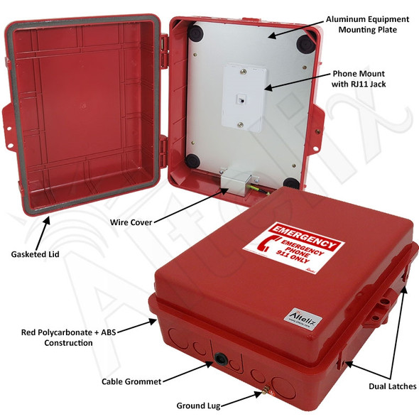 Altelix Outdoor Weatherproof Emergency Phone Call Box for Slim-Line Phones, Red 14x11x5 with Emergency Phone Label