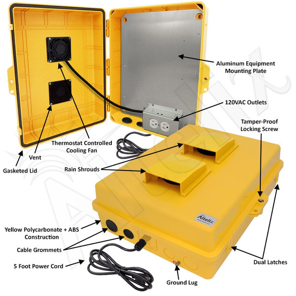 Altelix 17x14x6 Yellow Polycarbonate + ABS Vented Fan Cooled Weatherproof NEMA Enclosure with Aluminum Mounting Plate and 120 VAC Outlets & Power Cord