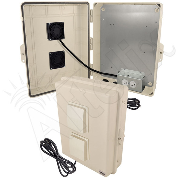 Altelix 17x14x6 Light Ivory Vented Polycarbonate + ABS Weatherproof NEMA Enclosure with 120 VAC Outlets, Power Cord & 85°F Turn-On Cooling Fan