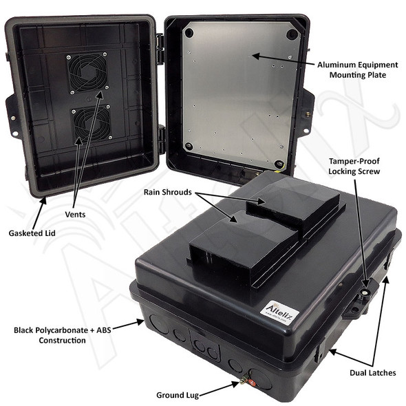 Altelix 14x11x5 Black Polycarbonate + ABS Vented Weatherproof NEMA Enclosure with Aluminum Mounting Plate