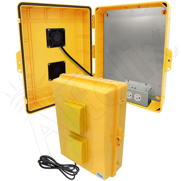 Altelix 17x14x6 Yellow Vented Polycarbonate + ABS Weatherproof NEMA Enclosure with 120 VAC Outlets, Power Cord & 85°F Turn-On Cooling Fan