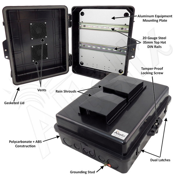 Altelix 14x11x5 Vented Stealth Black DIN Rail Polycarbonate + ABS Weatherproof NEMA Enclosure