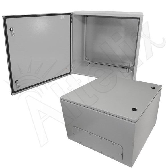 Altelix 24x24x16 Steel NEMA 4x / IP66 Weatherproof Equipment Enclosure with Blank Steel Equipment Mounting Plate