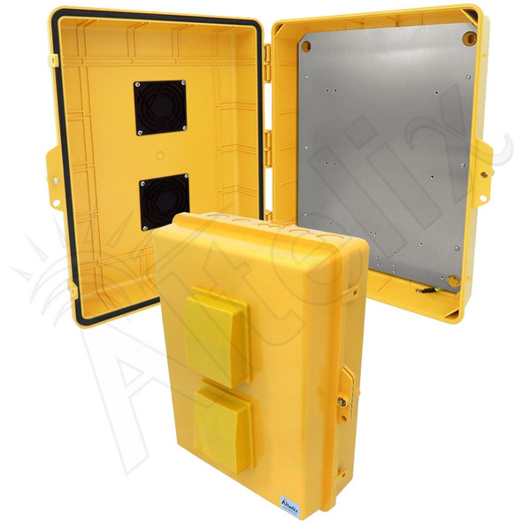 Altelix 17x14x6 Inch Yellow Polycarbonate + ABS Vented Weatherproof NEMA Enclosure with Aluminum Mounting Plate