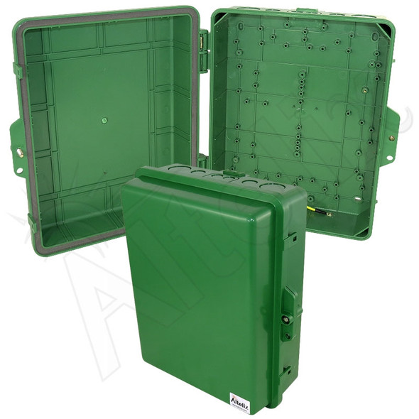 Altelix 14x11x5 IP55 NEMA 3R PC+ABS Green Plastic Weatherproof Utility Enclosure with Hinged Door