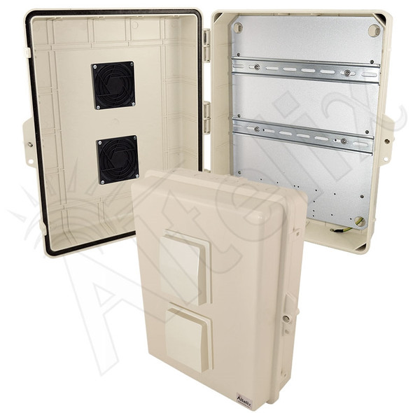 Altelix 17x14x6 Light Ivory Vented DIN Rail Polycarbonate + ABS Weatherproof NEMA Enclosure with Aluminum Equipment Mounting Plate