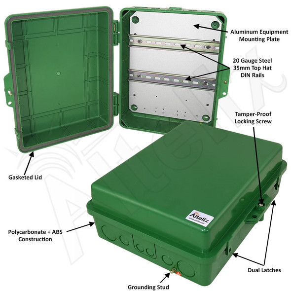Altelix 14x11x5 Green DIN Rail Polycarbonate + ABS Weatherproof NEMA Enclosure