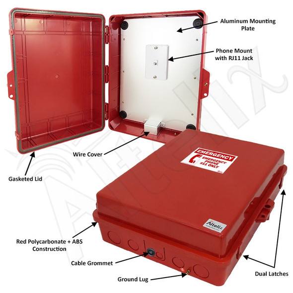 Altelix Outdoor Weatherproof Emergency Phone Call Box Red Polycarbonate 17x14x6