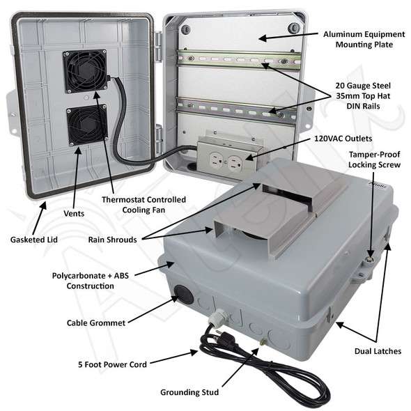 Altelix 14x11x5 Polycarbonate + ABS Vented Fan Cooled Weatherproof DIN Rail NEMA Enclosure with 120 VAC Outlets and Power Cord