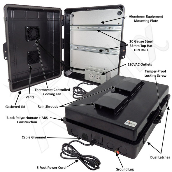 Altelix 17x14x6 Stealth Black DIN Rail Polycarbonate + ABS Vented Fan Cooled Weatherproof NEMA Enclosure with Aluminum Mounting Plate and 120 VAC Outlets & Power Cord