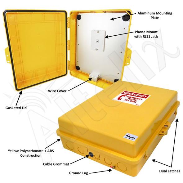 Altelix Outdoor Weatherproof Yellow Emergency Phone Call Box Polycarbonate 17x14x6