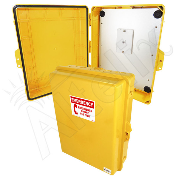 Altelix Outdoor Weatherproof Yellow Emergency Phone Call Box Polycarbonate 17x14x6