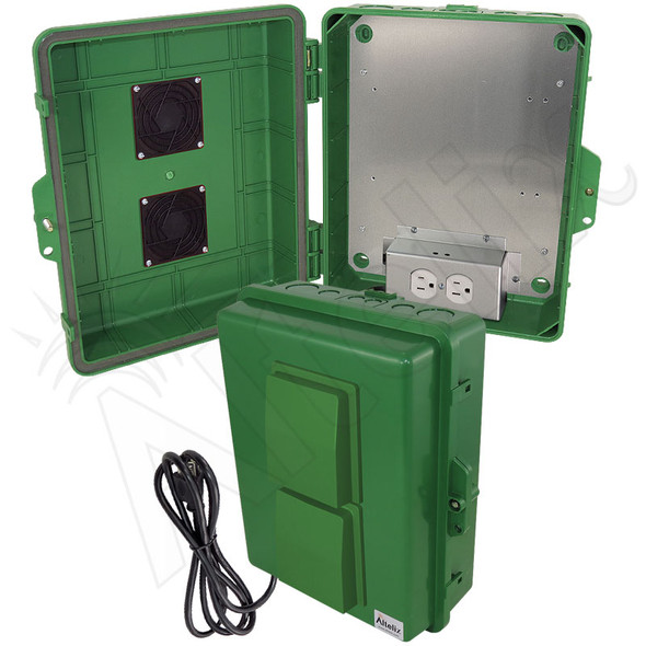 Altelix 14x11x5 Green Vented Polycarbonate + ABS Weatherproof NEMA Enclosure with Aluminum Mounting Plate, 120 VAC Outlets and Power Cord