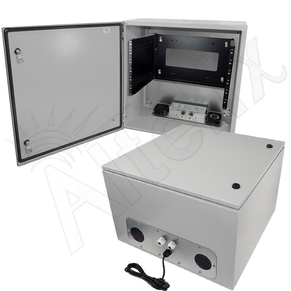 "Altelix 24x24x16 19"" 6U Rack Steel Weatherproof NEMA Enclosure with Dual Cooling Fans, 120 VAC Outlets and Power Cord"