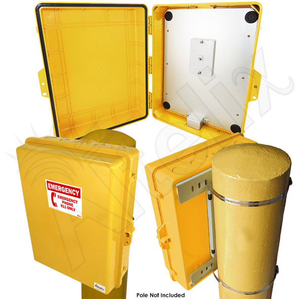 Altelix Yellow Pole Mount Outdoor Weatherproof Emergency Phone Call Box 17x14x6 with Emergency Phone Label