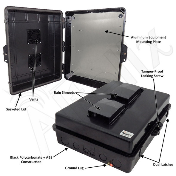 Altelix 17x14x6 Inch Stealth Black Polycarbonate + ABS Vented Weatherproof NEMA Enclosure with Aluminum Mounting Plate