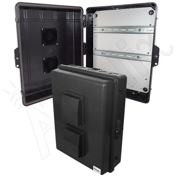 Altelix 17x14x6 Vented Stealth Black DIN Rail Polycarbonate + ABS Weatherproof NEMA Enclosure