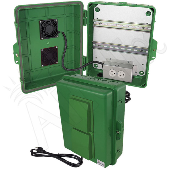 Altelix 14x11x5 Green Polycarbonate + ABS Vented Fan Cooled Weatherproof DIN Rail NEMA Enclosure with Aluminum Mounting Plate, 120 VAC Outlets & Power Cord