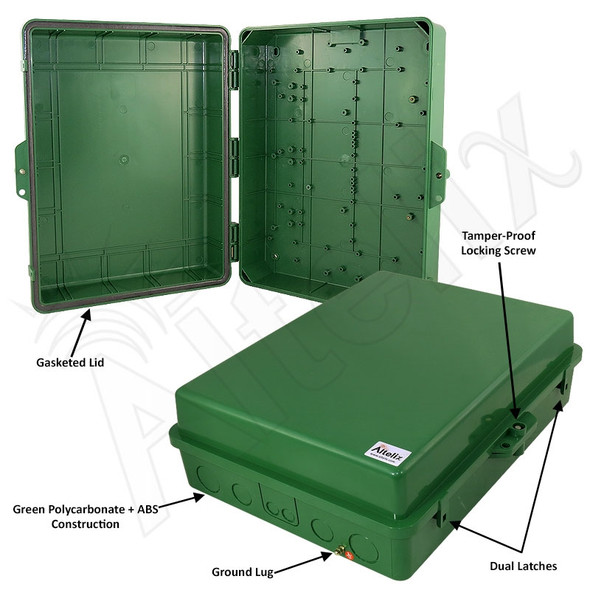 Altelix 17x14x6 IP55 NEMA 3R PC+ABS Green Plastic Weatherproof Utility Enclosure with Hinged Door