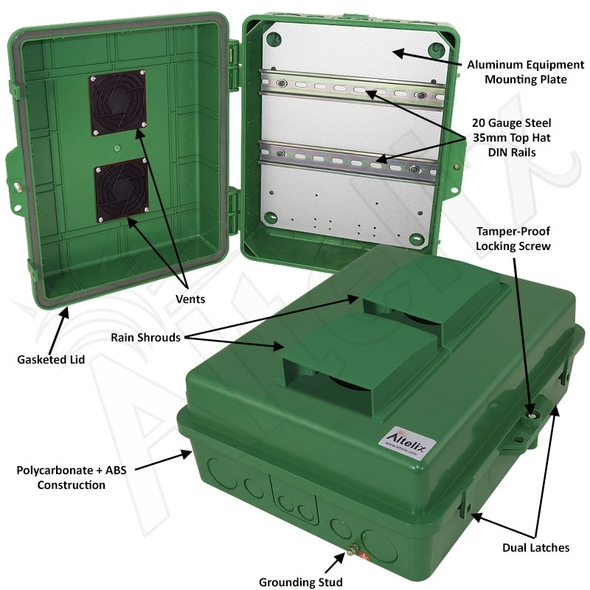 Altelix 14x11x5 Vented Green DIN Rail Polycarbonate + ABS Weatherproof NEMA Enclosure