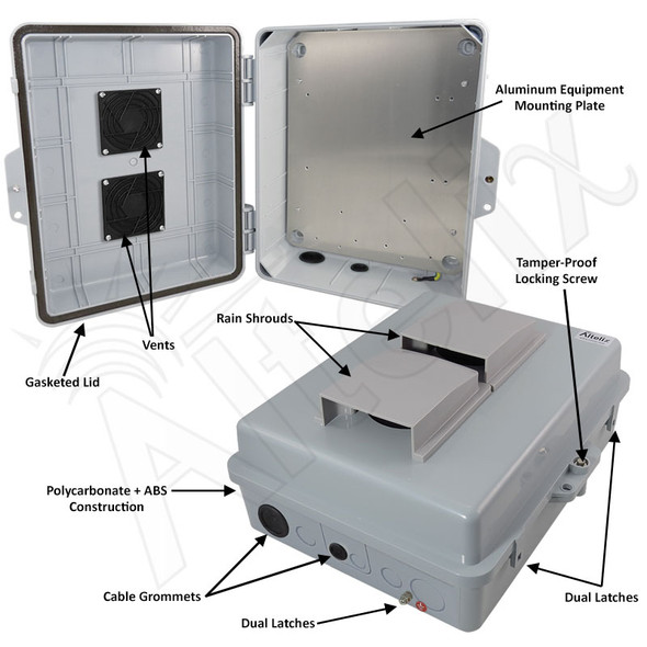 Altelix 14x11x5 Polycarbonate + ABS Vented Weatherproof NEMA Enclosure with Aluminum Mounting Plate
