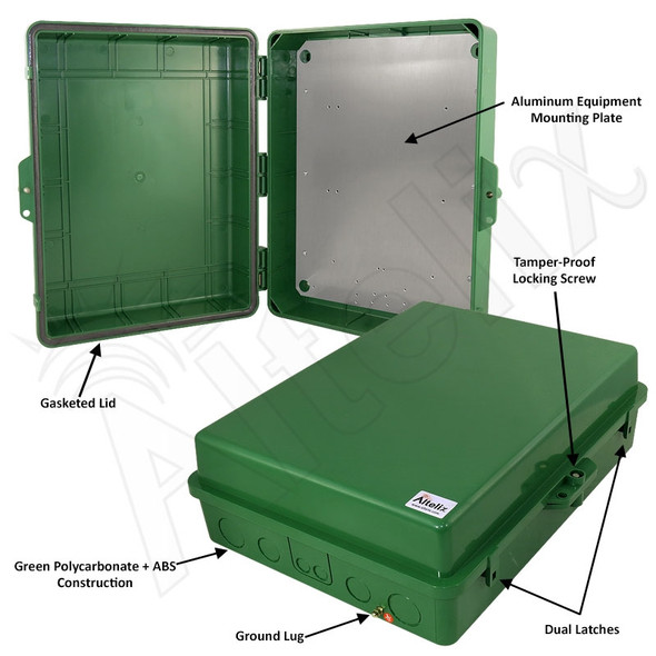 Altelix 17x14x6 Inch Green Polycarbonate + ABS Weatherproof NEMA Enclosure with Aluminum Equipment Mounting Plate