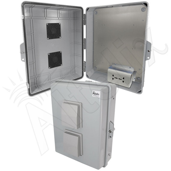 Altelix 17x14x6 Vented Polycarbonate + ABS Weatherproof NEMA Enclosure with 100-240 VAC Universal Power Outlet