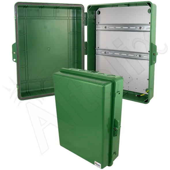 Altelix 17x14x6 Green DIN Rail Polycarbonate + ABS Weatherproof NEMA Enclosure