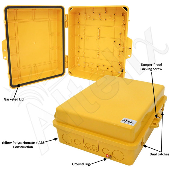 Altelix 14x11x5 IP55 NEMA 3R PC+ABS Plastic Weatherproof Yellow Utility Enclosure with Hinged Door