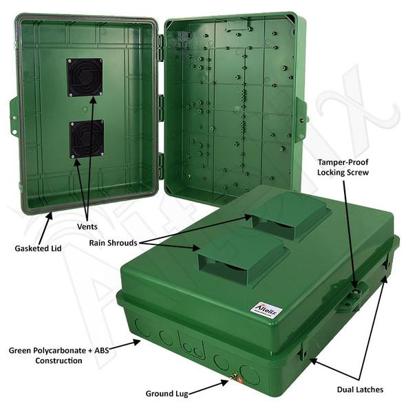 Altelix 17x14x6 Inch Green Polycarbonate + ABS Vented Weatherproof NEMA Enclosure