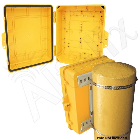 Altelix 14x11x5 Pole Mount Yellow PC+ABS Polycarbonate / ABS Weatherproof NEMA Enclosure