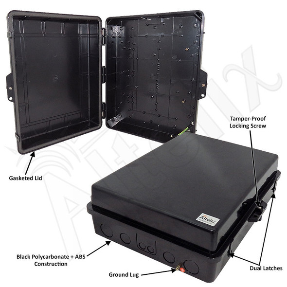 Altelix 17x14x6 Stealth Black Polycarbonate + ABS Weatherproof NEMA Enclosure