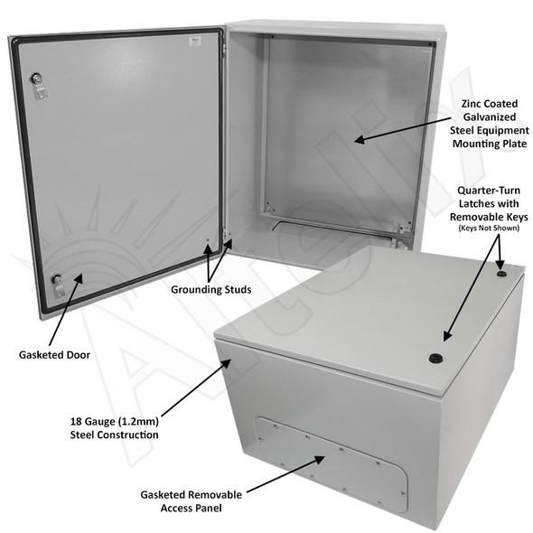 Altelix 28x24x16 Steel NEMA 4x / IP66 Weatherproof Equipment Enclosure with Blank Steel Equipment Mounting Plate