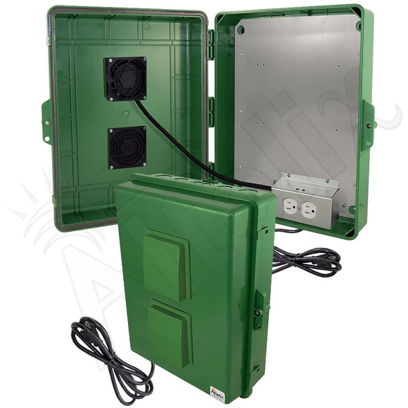 Altelix 17x14x6 Green Polycarbonate + ABS Vented Fan Cooled Weatherproof NEMA Enclosure with Aluminum Mounting Plate and 120 VAC Outlets & Power Cord