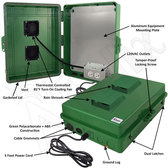 Altelix 17x14x6 Green Vented Polycarbonate + ABS Weatherproof NEMA Enclosure with 120 VAC Outlets, Power Cord & 85°F Turn-On Cooling Fan