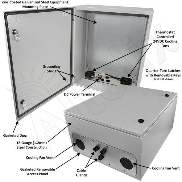 Altelix 24x20x12 Steel Weatherproof NEMA Enclosure with Dual 24 VDC Cooling Fans