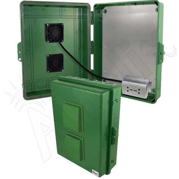 Altelix 17x14x6 Green Vented Polycarbonate + ABS Weatherproof NEMA Enclosure with 100-240 VAC Universal Power Outlet & Cooling Fan