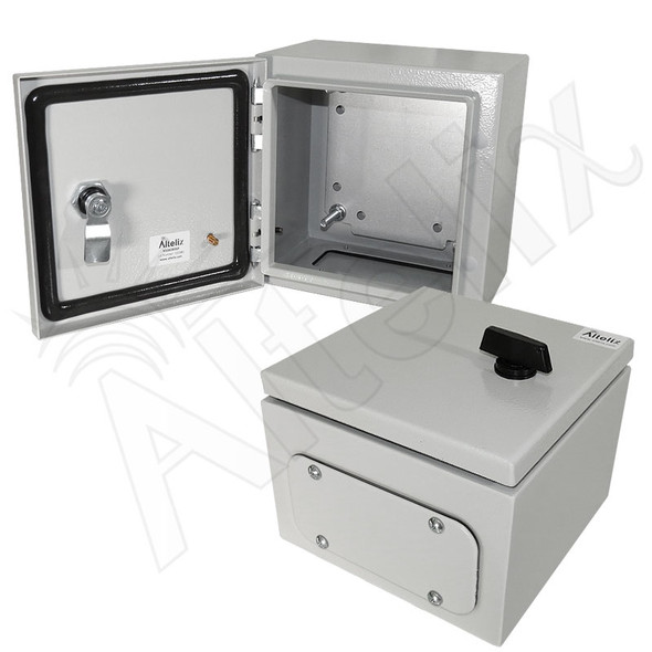 Altelix 8x8x6 Steel NEMA 4x / IP66 Weatherproof Equipment Enclosure with Blank Steel Equipment Mounting Plate