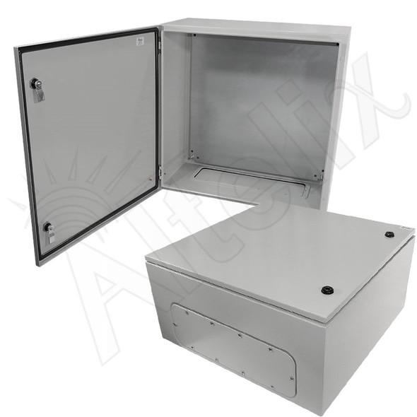 Altelix 24x24x12 Steel NEMA 4x / IP66 Weatherproof Equipment Enclosure with Blank Steel Equipment Mounting Plate