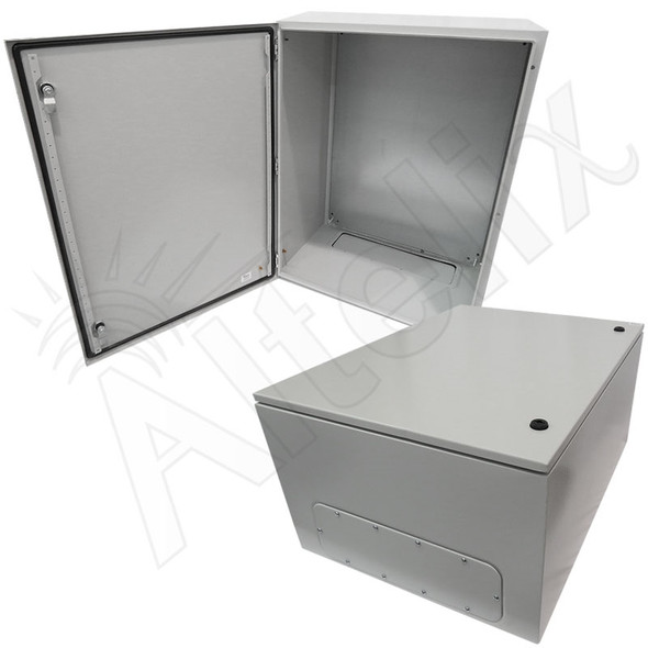 Altelix 32x24x16 Steel NEMA 4x / IP66 Weatherproof Equipment Enclosure with Blank Steel Equipment Mounting Plate