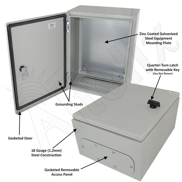 Altelix 16x12x8 Steel NEMA 4x / IP66 Weatherproof Equipment Enclosure with Blank Steel Equipment Mounting Plate