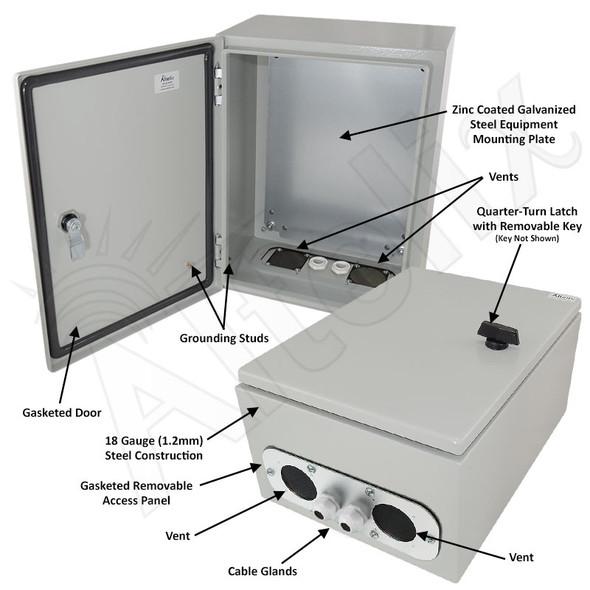 Altelix 16x12x8 Vented Steel Weatherproof NEMA Enclosure with Steel Equipment Mounting Plate