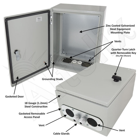 Altelix 16x12x8 Vented Steel Weatherproof NEMA Enclosure with Steel Equipment Mounting Plate