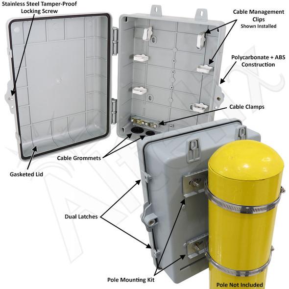 Altelix 12x9x5 Pole Mount IP66 NEMA 4X PC+ABS Plastic Weatherproof Utility Box with Hinged Door