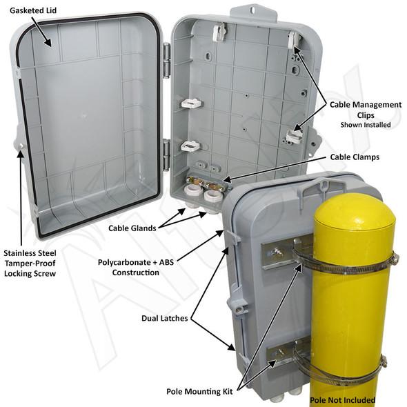Altelix 15x10x5 Pole Mount Inch PC+ABS Polycarbonate / ABS Weatherproof NEMA Enclosure