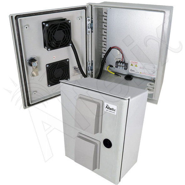 Altelix 12x10x6 Vented Fiberglass Weatherproof NEMA Enclosure with 48 VDC Cooling Fan