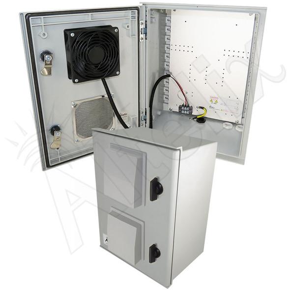 Altelix 16x12x8 Vented Fiberglass Weatherproof NEMA Enclosure with 48 VDC Cooling Fan