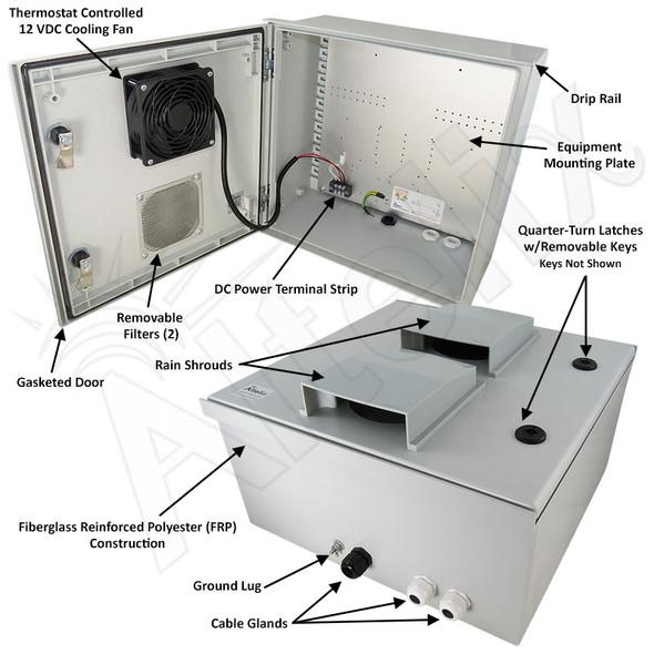 Altelix 16x16x8 Vented Fiberglass Weatherproof NEMA Enclosure with 12 VDC Cooling Fan
